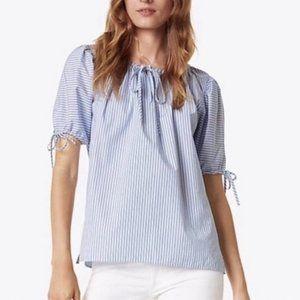Tory Burch Ariana Puff Sleeve Cotton Shirt  Size S